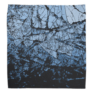 Ice cracks, light blue and black grunge pattern bandana