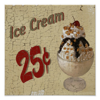 Ice Cream 25 cents Poster