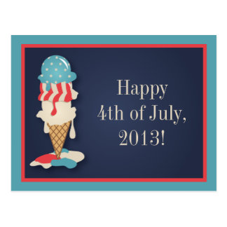 Ice Cream 4th of July Party Postcard