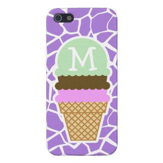 Ice Cream; Amethyst Purple Giraffe Animal Print iPhone 5 Cases