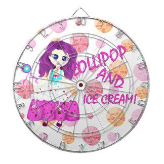 Ice cream and lollipop Chibi anime Dartboard