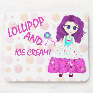Ice cream and lollipop Chibi anime Mouse Mat