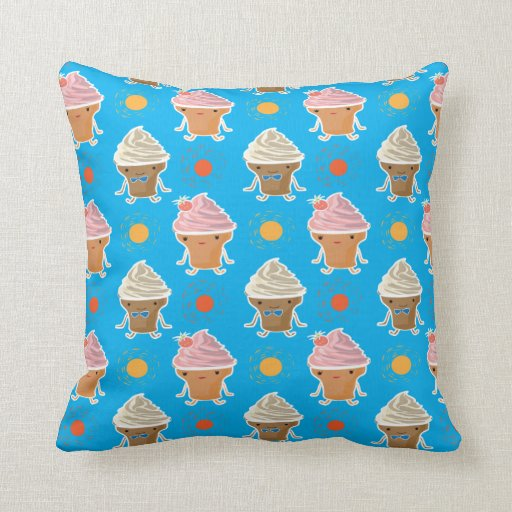 ice cream and sun bath pattern throw pillow