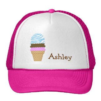 Ice Cream Baby Blue Zebra Animal Print Trucker Hat