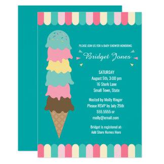 Ice Cream Baby Shower   Teal Card