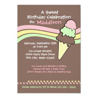 Ice Cream Birthday and Sleep Over 13 Cm X 18 Cm Invitation Card