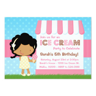 Ice Cream Birthday Party African American Personalized Invites
