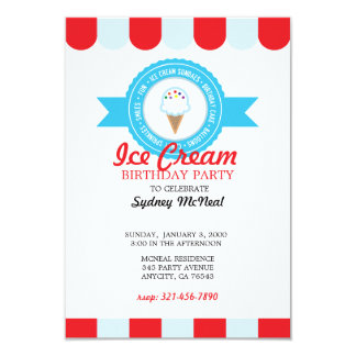 ice cream BIRTHDAY PARTY bright invitation