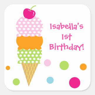 Ice Cream Birthday Party  Favor Sticker label