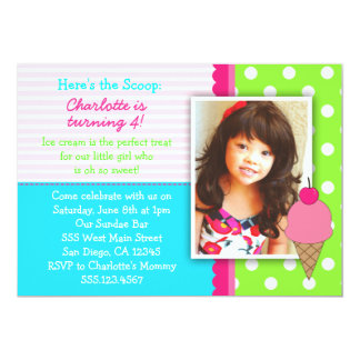 "Ice Cream Birthday Party Invitations For Girls 5"" X 7"" Invitation Card"