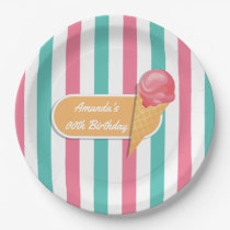 Ice Cream Birthday Party personalised Paper Plate