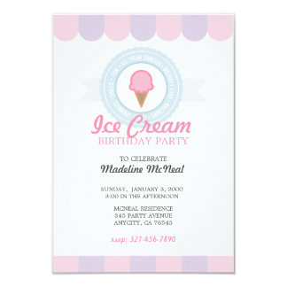 ice cream BIRTHDAY PARTY pink invitation