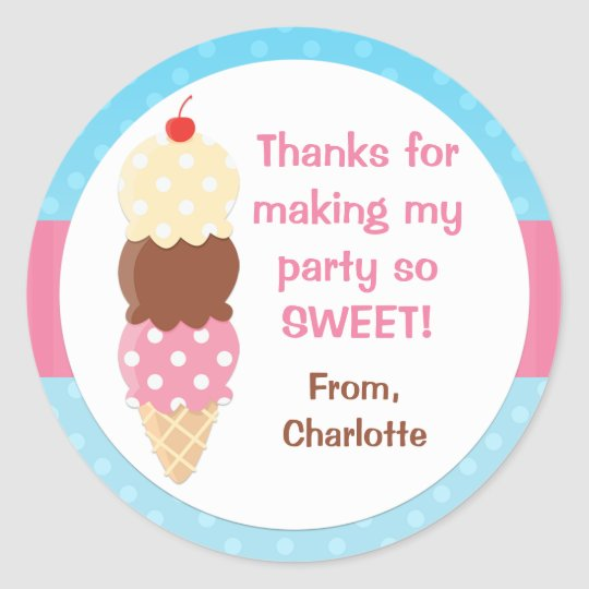 Ice Cream Birthday Party Sticker