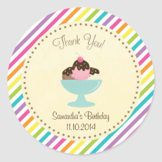 Ice Cream Birthday Thank You Sticker Colorful