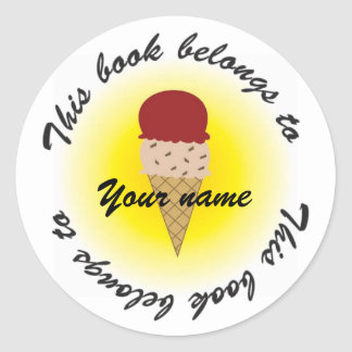 ice cream, Booklabel Classic Round Sticker