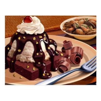 Ice Cream Brownie Nut Sundae Postcard