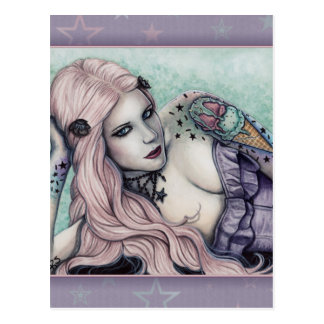 Ice Cream bubblegoth Tattoos Girl pastel postcard