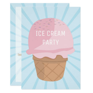 Ice Cream Celebration Party Birthday Invitation