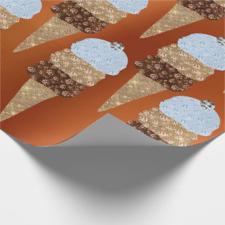 Ice Cream Chocolate Blue Coral Metallic Creamy Wrapping Paper