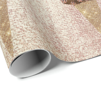 Ice Cream Chocolate Blue Metallic Rose Gold Linen Wrapping Paper