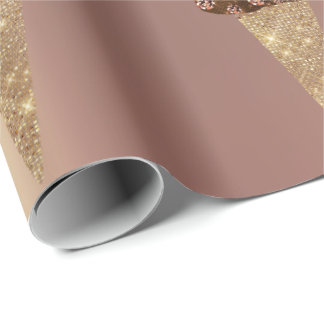 Ice Cream Chocolate Blue Metallic Rose Gold Wrapping Paper