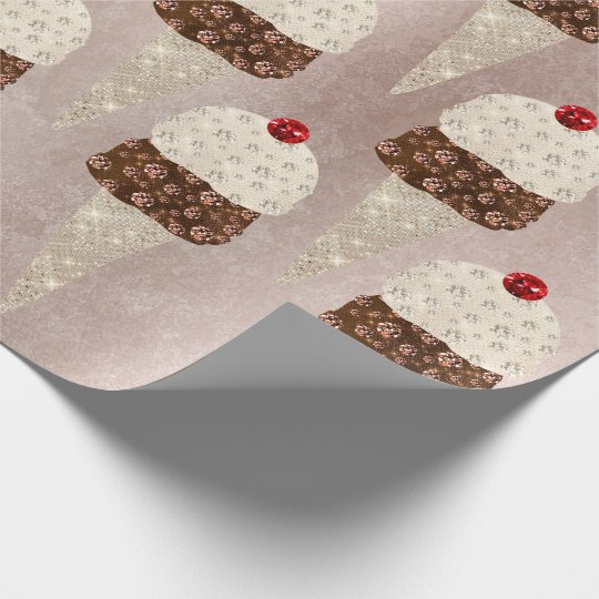 Ice Cream Chocolate Metallic Pink Rose Spark Ivory Wrapping Paper