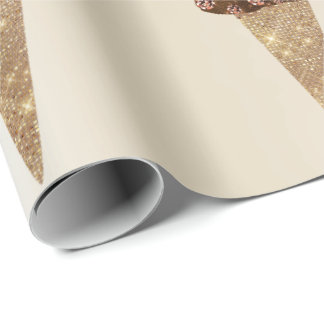 Ice Cream Chocolate Metallic Rose Gold Ivory Wrapping Paper