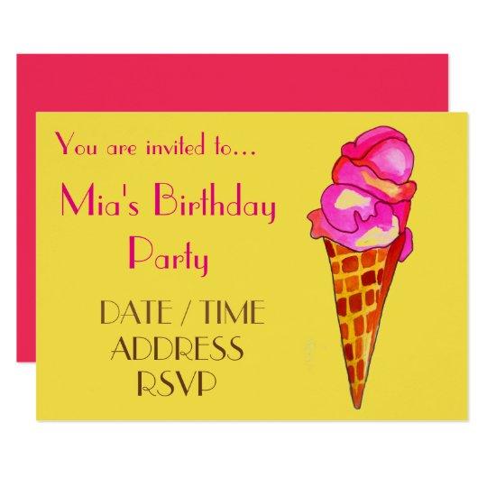 Ice-cream colourful girl's birthday party card