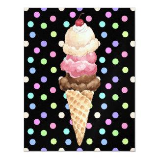 Ice Cream Cone 11 Cm X 14 Cm Invitation Card