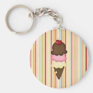 ice cream cone basic round button key ring