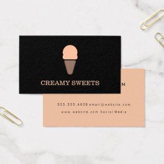 Ice Cream Cone Black Orange Business Card