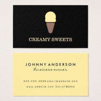 Ice Cream Cone Black Yellow Business Card