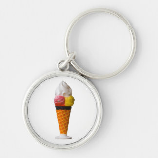 ice cream cone fun  keychain, gift idea Silver-Colored round key ring