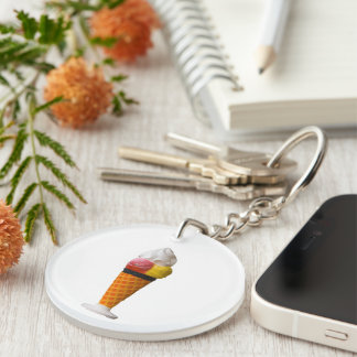 Ice cream cone, gigantic fun treat gift round acrylic keychains