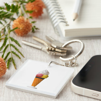Ice cream cone, gigantic fun treat gift Single-Sided square acrylic key ring