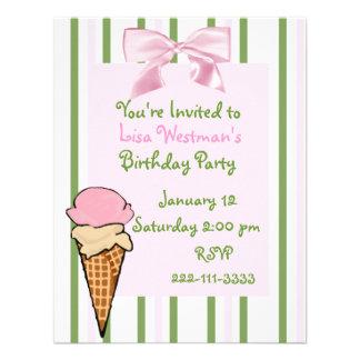 Ice Cream Cone Girl s Birthday Invitation