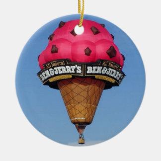 Ice Cream Cone Hot Air Balloon Round Ceramic Decoration