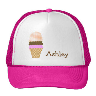 Ice Cream Cone on Apricot Color Houndstooth Trucker Hat