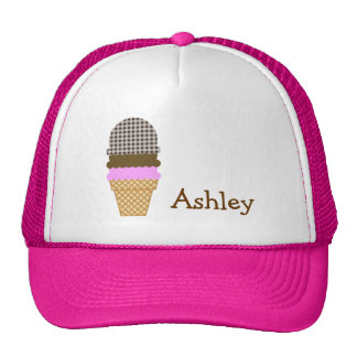 Ice Cream Cone on Bistre Brown Gingham Cap
