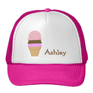Ice Cream Cone on Blush Pink Gingham Trucker Hat