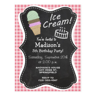 Ice Cream Cone on Blush Pink Gingham Post Card