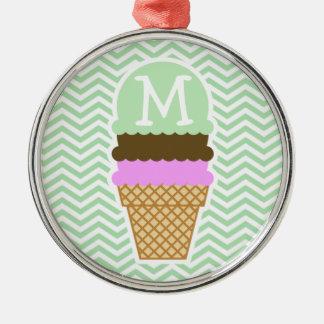 Ice Cream Cone on Celadon Chevron Silver-Colored Round Decoration