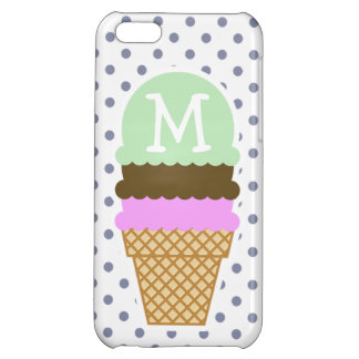 Ice Cream Cone on Cool Grey Polka Dots Case For iPhone 5C