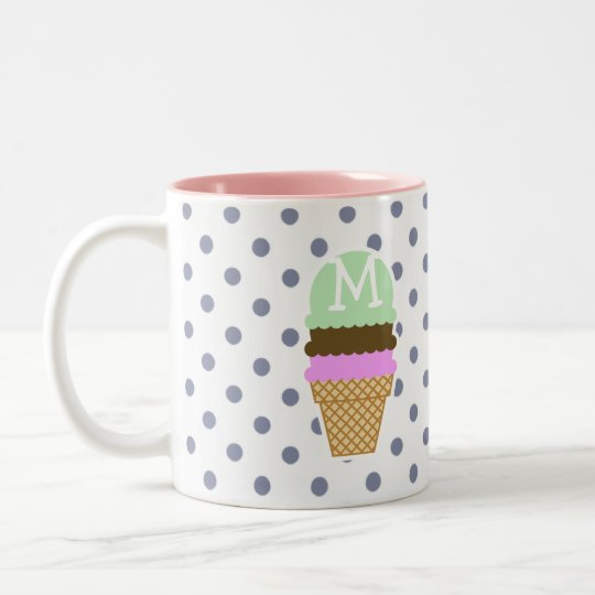 Ice Cream Cone on Cool Grey Polka Dots