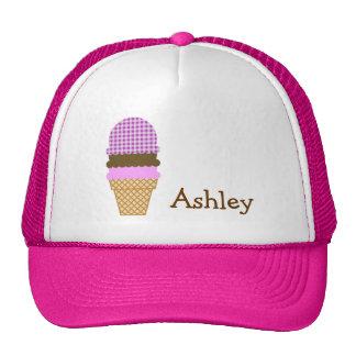 Ice Cream Cone on Deep Fuchsia Gingham Trucker Hat