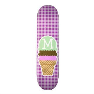 Ice Cream Cone on Deep Fuchsia Gingham Skate Board Deck