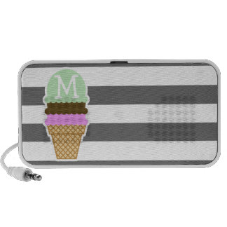 Ice Cream Cone on Dim Gray Horizontal Stripes Notebook Speaker