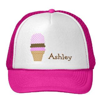 Ice Cream Cone on Fuchsia Polka Dots Cap