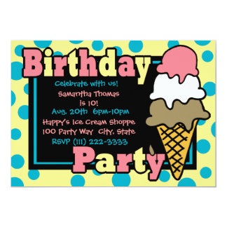 Ice Cream Cone Party 13 Cm X 18 Cm Invitation Card