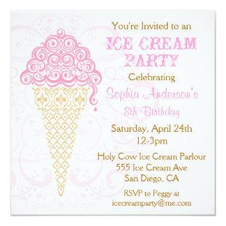 """Ice Cream Cone Party Invitation 5.25"""" Square Invitation Card"""